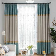 Moderner Vorhang Minimalismus Splice Jacquard Blau Im Wohnzimmer