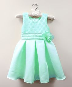 This Mint Polka Dot Rosette Sabrina Dress - Infant & Toddler by Dorissa is perfect! #zulilyfinds