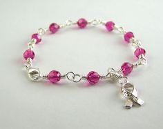Inflammatory Breast Cancer Awareness Bracelet by HopeFaithAndBeads on Etsy