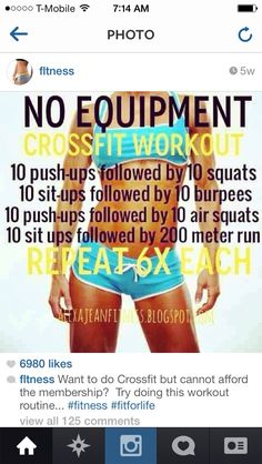 Fitness & Health: No Equipment CrossFit Workout I'd replace the run with jumpin. - Fitness & Health: No Equipment CrossFit Workout I'd replace the run with jumping jacks or the el - Fitness Workouts, Fitness Diet, Fun Workouts, At Home Workouts, Health Fitness, Fitness Weightloss, Workout Exercises, Calisthenics Workout, Training Workouts