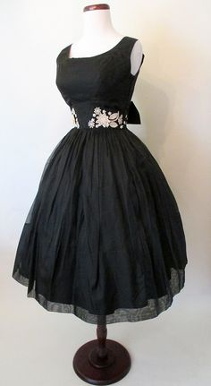 Adorable 1950's Black Silk Cocktail Party Dress w/ by wearitagain