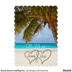beach hearts wedding bridal bride groom guests card