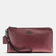 Double Zip Wallet in Metallic Pebble Leather