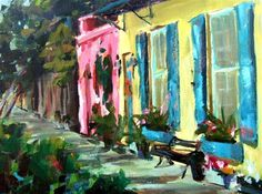 """Daily Paintworks - """"East Bay Street, Charleston, SC"""" - Original Fine Art for Sale - © Gina Brown"""