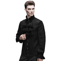 >> Click to Buy << Gothic Steampunk Flounce Tie Shirt Black White Men Casual Shirts Camisa Masculina Chemise With Long Sleeves Blouses 2017 #Affiliate