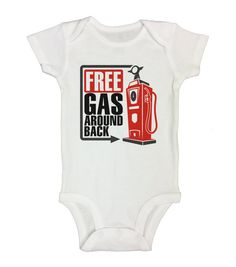 """Cute Kids Onesie """" Gas Around Back """" - Funny Shirt Collection - Bodysuits Gift for Baby - Kids Hipster Shirts - Long Sleeve Option - 288"""