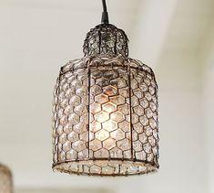 Harlowe Wire & Glass Indoor/Outdoor Pendant