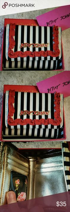 NWT BETSY JOHNSON French Black and White Wallet NWT Betsy Johnson French Black and White Striped Wallet with Red Ruffle, Gold inside with 7 Slots Zippered pocket outside, Dollar bill slot inside inside, comes with box slight rip on box Betsy Johnson  Bags Wallets