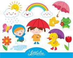 Rainy day - Spring puddle - Rainbow clipart - 15085