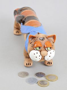 Ceramic Tired  Cat Bank  Money box Birthday Gift by Molinukas