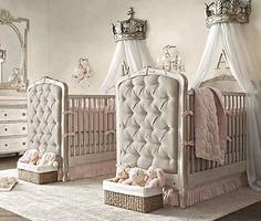 Restoration Hardware - baby - Little Princess Nursery  This nursery with the chandeliers and princess crowns are tempting to find out the sex of my future baby when the time comes.....but it just WON'T happen...I'll sacrifice...or buy after birth lol!!!