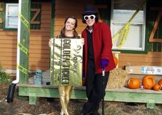 willy wonka and the golden ticket 100 Creative DIY Couples Costumes for Halloween via Brit + Co.