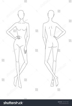 Sketch of the female body. Front and back view. Put your hands on the belt, legs crossed. Female body template for drawing clothes. You can print and draw directly on sketches. Fashion Model Sketch, Fashion Design Sketchbook, Fashion Design Drawings, Fashion Sketches, Dress Design Sketches, Fashion Illustration Poses, Fashion Illustration Template, Fashion Figure Templates, Fashion Design Template