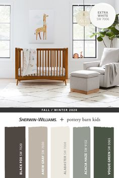 Natural décor pairs beautifully with the light and bright Extra White SW 7006. Tap the pin to discover more paint colors from the @potterybarnkids Fall/Winter 2020 palette. #sherwinwilliams #DIY #decor #nursery #neutralnursery #lovemypbk #pbkids #homedecor #painting #colorinspiration #renovation #paint #potterybarnkids #graypaint #whitepaint #greenpaint Pottery Barn Colors, Pottery Barn Kids, Nursery Paint Colors, Nursery Neutral, Wood Colors, Paint Colours, Colours That Go Together, Paint Color Palettes, Nursery Paintings