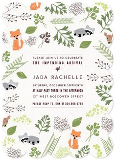 Love this baby shower invitations - Woodland Arrival