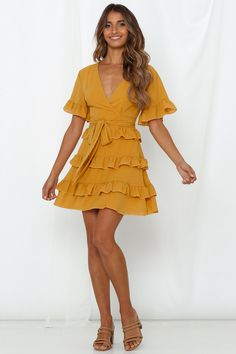 Our Do You Love Dress features a v-neckline. It also has long sleeves with elastic at the cuff, an invisible zipper and an attached waist belt! Shop Now And Get Express Shipping Worldwide! Outfit Primavera, Mustard Dressing, Short Sleeve Dresses, Long Sleeve, Latest Dress, Lovely Dresses, Business Casual, Summer Dresses, Outfit