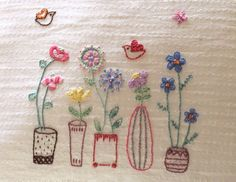 Flower Embroidery Ideas How cute. embroidery - Made from a template in issue 2 of Mollie Makes Hand Embroidery Patterns, Vintage Embroidery, Ribbon Embroidery, Embroidery Art, Cross Stitch Embroidery, Embroidery Designs, Machine Embroidery, Art Patterns, Japanese Embroidery