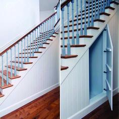 Hidden door storage under stairs - suitcases? Closet Under Stairs, Under Stairs Cupboard, Basement Stairs, House Stairs, Cupboard Doors, Space Under Stairs, Basement Ceilings, Basement Ideas, Stairway Storage