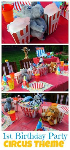 It's a Party! Celebrating baby's first birthday with a circus themed celebration. We used stuffed animals, lots of stripes and bright colors to create this colorful party. Get all the details. http://www.momtrends.com/2014/10/its-a-party-circus-themed-1st-birthday-party/