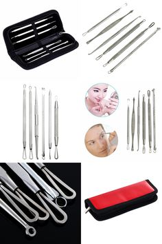 [Visit to Buy] 6Pcs/Set Stainless Steel Blackhead Comedone Acne Blemish Remover Extractor Needle Face Cleaning Kits Face Skin Care Tool #Advertisement