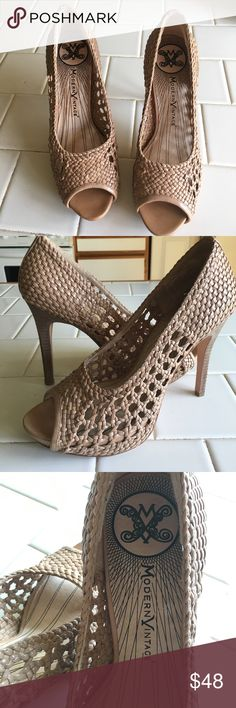 🎉HP 🎉4/8. Modern Vintage Peep Toe Heels EUC.  Nude colored woven vamp heels that are a timeless sexy style.  Heels are 4 inches.  These shoes have been lovingly pre worn with no obvious signs of wear. Non smoking home. Modern Vintage Shoes Heels