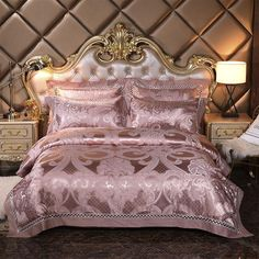 Rose Gold Bedroom: Glamor Ideas That Will Mesmerize You King Size Bed Sheets, King Size Bedding Sets, Luxury Bedding Sets, Bed Sheet Sets, Comforter Sets, King Comforter, Royal Bedroom, Gold Bedroom, Bedroom Decor