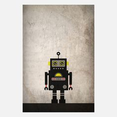 It looks so quiet and lonely, standing there in the cold December night.     From Fab.com | Black-Yellow Robot
