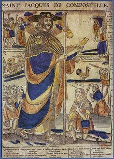 """409: """"SAINT JACQUES DE COMPOSTELLE. Imagerie populaire. Gravure du XIXe siécle. Musée Paul Dupuy. Toulouse"""""""