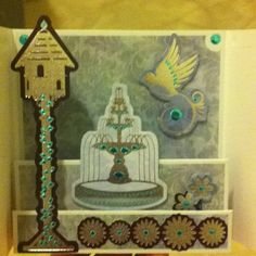 Silver and turquoise hummingbird design (inner arch gatefold card)
