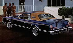 "1977 Bill Blass Designer Edition Lincoln Continental Mark V.  Finished in Dark Blue Metallic with Chamois ""Frenched"" vinyl landau roof."