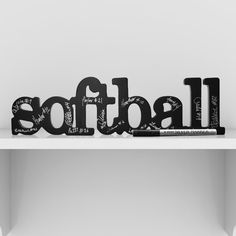 Softball SportWORDS - This carved wood decorative accessory makes a statement and is a great accent piece for home or office.