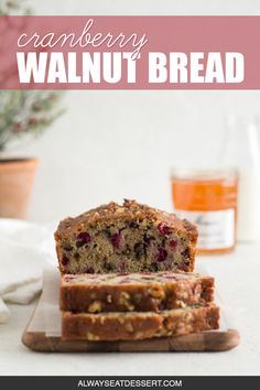 A little tangy, a little crunchy, and totally delicious, this cranberry walnut bread is an easy sweet bread recipe that's perfect for the holidays! Holiday Bread, Christmas Bread, Christmas Dishes, Holiday Baking, Christmas Recipes, Fall Baking, Cranberry Nut Bread, Cranberry Recipes, Walnut Bread Recipe