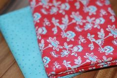 Cherry and aqua flower fabric.