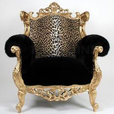 OSCAR fauteuil goud, luipaard, zwart & fur Halve Prijs