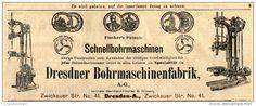 Original-Werbung/ Anzeige 1905 : FISCHER'S PATENT SCHNELLBOHRMASCHINEN / DRESDNER BOHRMASCHINENFABRIK - ca.200 x 75 mm