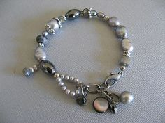 Multi Gemstone & Gray Pearl Bracelet with Charms SUNDANCE csd