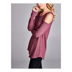 Sarah Thermal $38.00 A long sleeve soft BURGUNDY thermal top featuring cold shoulders with round hem.  Love!