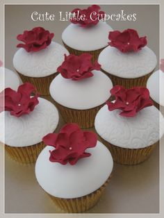 Classic Chocolate cupcakes topped with fondant domes & decorated with deep claret red sugar paste flowers x