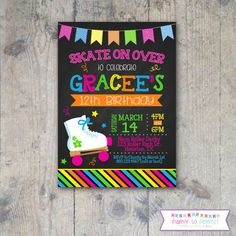 Download free template free printable roller skating birthday party chalkboard roller skating 5x7 birthday party invitation printable filmwisefo
