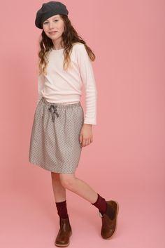 Autumn Skirt with Essential tee | Olive Juice #tweenfashion