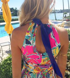 Tie-back of Lilly Pulitzer Amada Maxi Dress in Besame Mucho