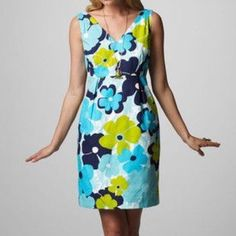 "NWT Lilly Pulitzer ""Kiki"" Dress Fun, adorable Lilly Pulitzer ""Kiki"" dress featuring the Pop Goes The Floral pattern in Shorely Blue.  The fabric is a playfully textured cotton jacquard.  Any Lilly girl would be happy to add this to her collection! Lilly Pulitzer Dresses"
