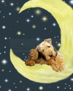 Airedale Terrier Pup Good Night Moon 8 x 10 by aBeesCreations