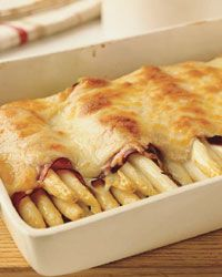 From Food & Wine, by Jean-Georges Vongerichten, white asparagus and ham gratin.