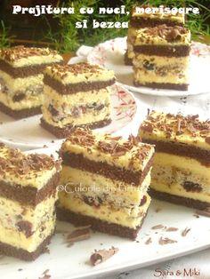 » Prajitura cu nuci, merisoare si bezeaCulorile din Farfurie Food Cakes, Tiramisu, Cake Recipes, Deserts, Ethnic Recipes, Cakes, Easy Cake Recipes, Kuchen, Postres