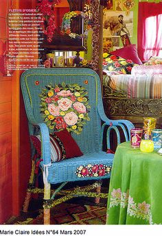 Painted Wicker & Lively Bohemian Decor