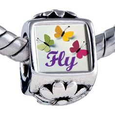 Pugster Butterfly Beads - Chamilia Bead & Bracelet Compatible Pugster. $12.49. Hole size is approximately 4.8 to 5mm. Unthreaded European story bracelet design. Bracelet sold separately. It's the photo on the flower charm. Fit Pandora, Biagi, and Chamilia Charm Bead Bracelets