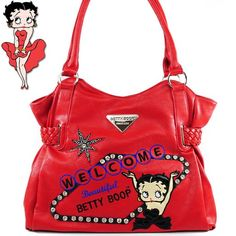 Betty Boop Fashion Unique Betty Boop Character Embroidered Gemstones Rhinestone Studded Woven Drawstring Detailed Tote Satchel Shopper Handbag Purse in Red Betty Boop Purses, Betty Boop Pictures, Belt Purse, Designer Totes, Girls Bags, Balenciaga City Bag, Unique Fashion, Purses And Handbags, Fashion Bags