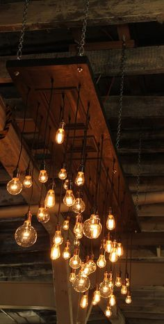 One of Dr.Hinze's friends makes thes… Urban Chandy: Modern Chandelier Design. One of Dr.Hinze's friends makes these really awesome (and really expensive…. High Ceiling Lighting, Edison Lighting, Rustic Lighting, Industrial Lighting, Interior Lighting, Lighting Design, Ceiling Lights, Lighting Ideas, Light Design