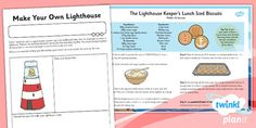 These are the home learning tasks to go along with the PlanIt DT 'Pirate Paddy's Packed Lunch Problems' unit. Lighthouse Keepers Lunch, Talk 4 Writing, Procedural Writing, Eyfs Activities, Home Learning, Light House, Heroines, Homework, Seaside